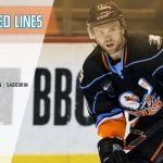 Spencer Abbott in his San Diego Gulls jersey with a Projected Lines graphic overlaid.